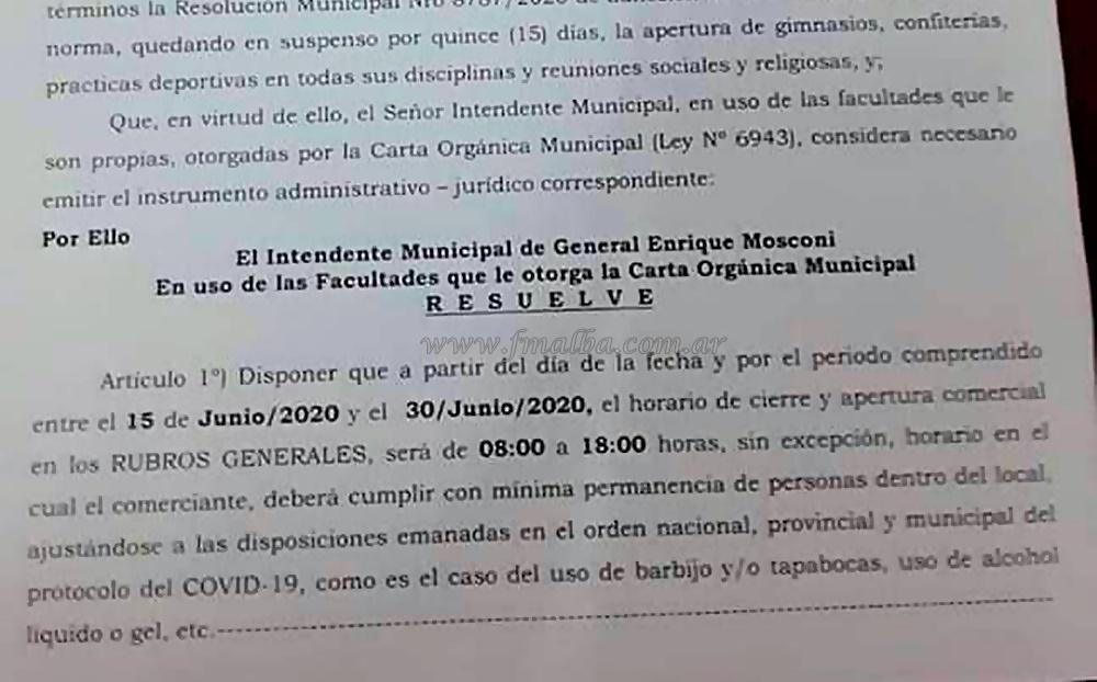 General Mosconi: retorno a Fase 1 por caso de coronavirus